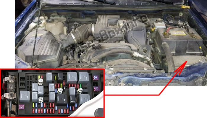 The location of the fuses in the engine compartment: Isuzu i-280, i-290, i-350, i-370 (2006, 2007, 2008)