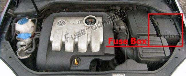 The location of the fuses in the engine compartment: SEAT Altea (2005-2015)