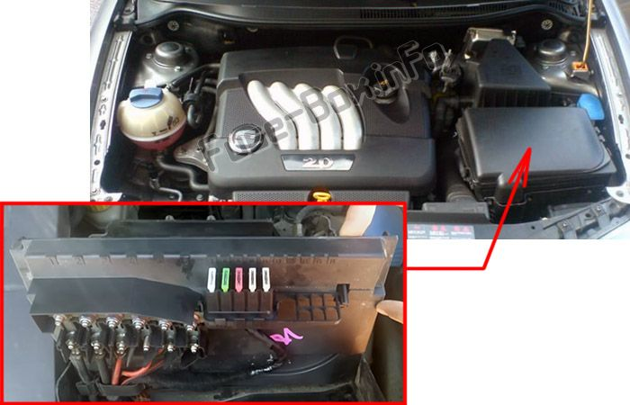 The location of the fuses in the engine compartment: SEAT Cordoba (2002-2009)