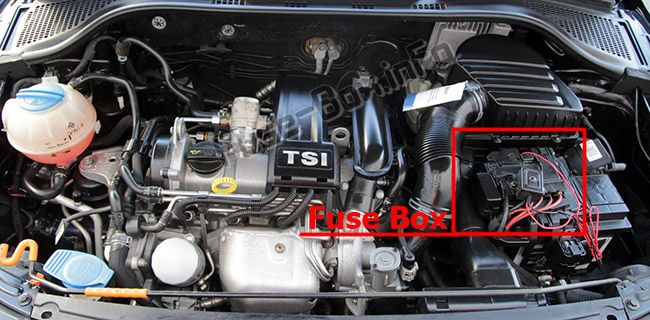 The location of the fuses in the engine compartment: SEAT Toledo (2012, 2013, 2014, 2015)