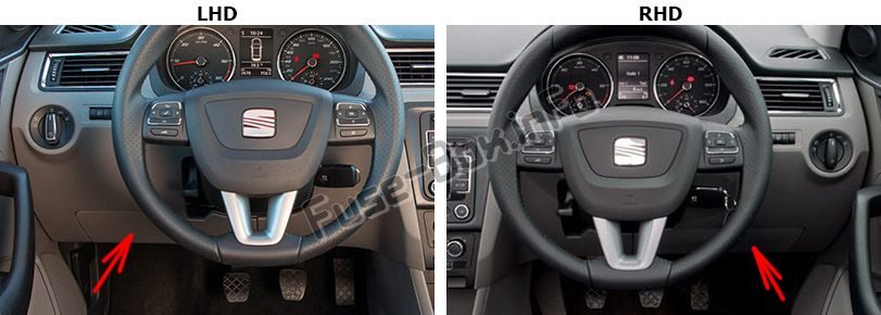 The location of the fuses in the passenger compartment: SEAT Toledo (2012-2018)