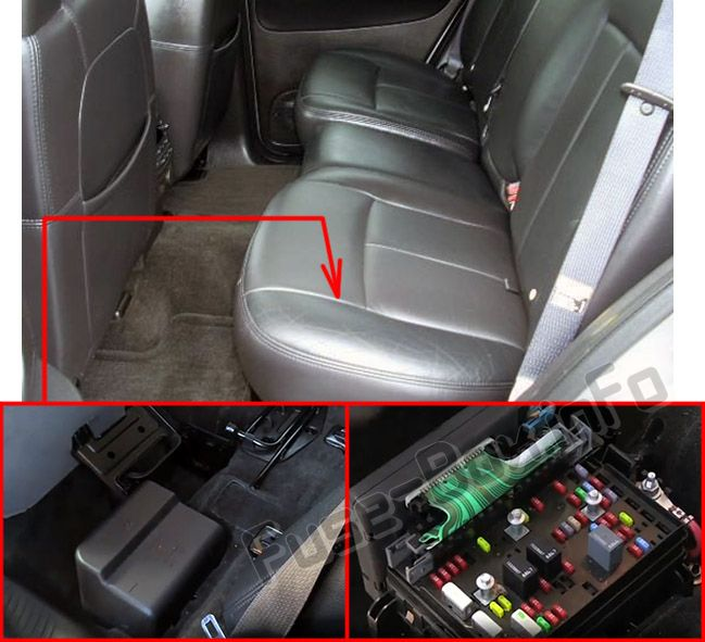 The location of the fuses in the passenger compartment: Saab 9-7x (2004-2009)