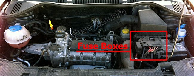 The location of the fuses in the engine compartment: SEAT Ibiza (2008-2015)
