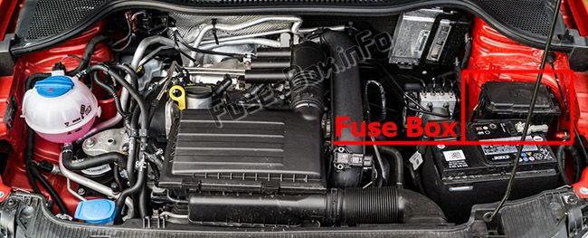 The location of the fuses in the engine compartment: SEAT Ibiza (2016, 2017)