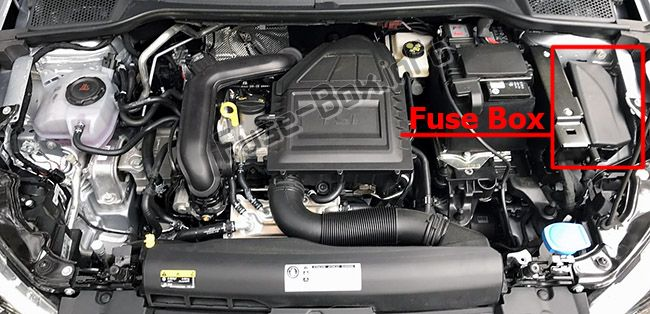 The location of the fuses in the engine compartment: SEAT Ibiza (2017, 2018-...)