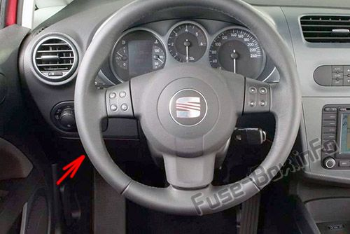 The location of the fuses in the passenger compartment: SEAT Leon (2005-2012)