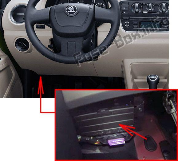 The location of the fuses in the passenger compartment: Skoda Citigo (2011-2015)