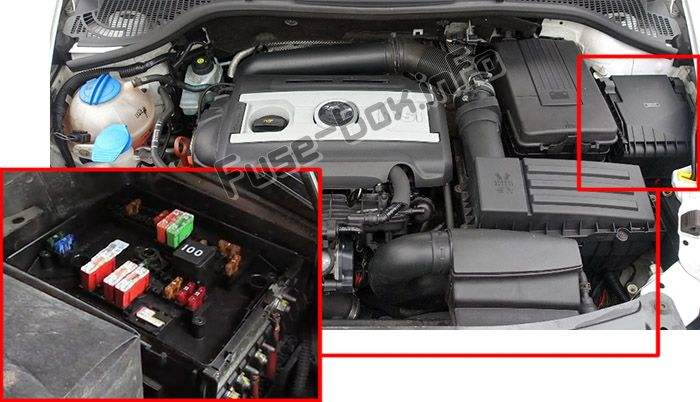 The location of the fuses in the engine compartment: Skoda Octavia (2009-2013)