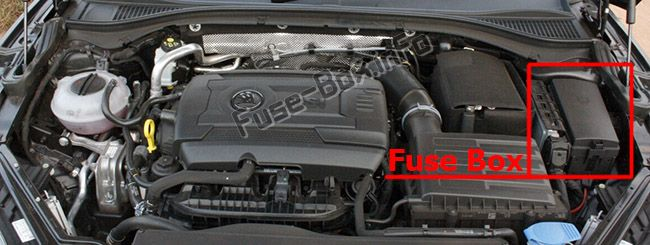 The location of the fuses in the engine compartment: Skoda Octavia (2017, 2018, 2019)