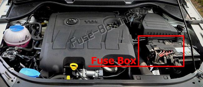 The location of the fuses in the engine compartment: Skoda Rapid (2012-2015)