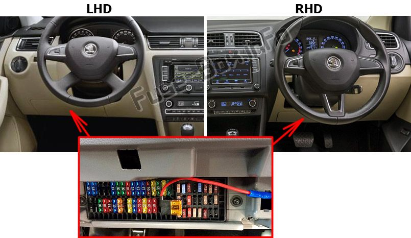The location of the fuses in the passenger compartment: Skoda Rapid (2012-2015)