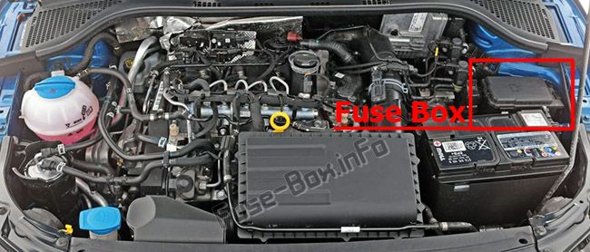 The location of the fuses in the engine compartment: Skoda Rapid (2016-2019-..)