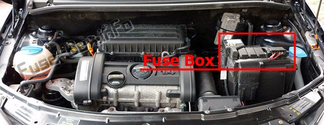 The location of the fuses in the engine compartment (AT): Skoda Roomster (2006-2015)