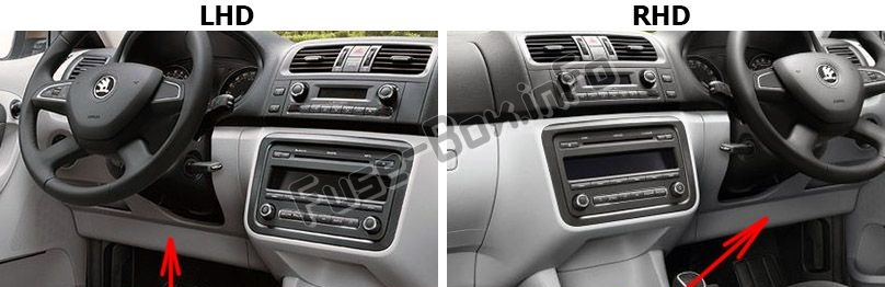 The location of the fuses in the passenger compartment: Skoda Roomster (2006-2015)