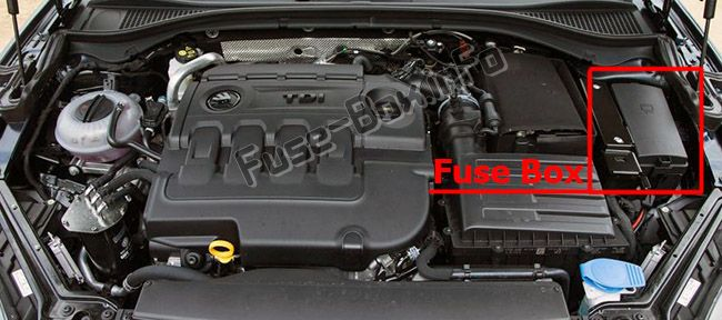 The location of the fuses in the engine compartment: Skoda Superb (2015-2019)