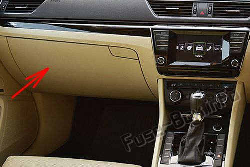 The location of the fuses in the passenger compartment (RHD): The location of the fuses in the passenger compartment: Skoda Superb (2015-2019)