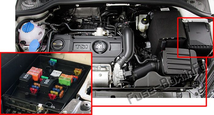 The location of the fuses in the engine compartment: Skoda Yeti (2009-2017)