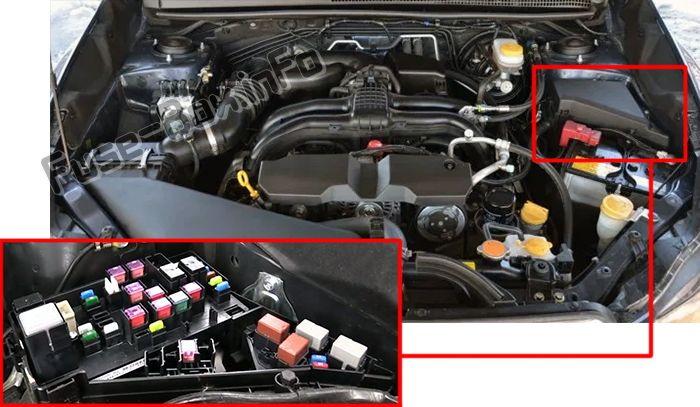 The location of the fuses in the engine compartment: Subaru Crosstrek (2011-2017)
