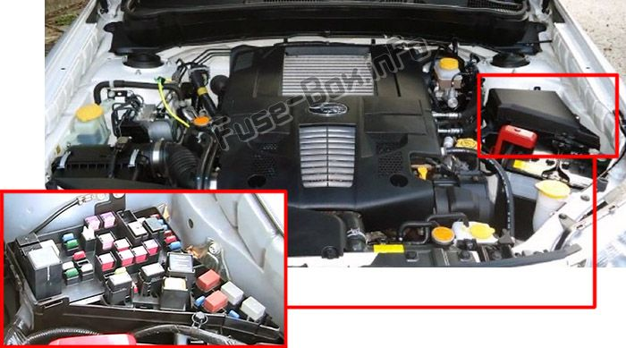The location of the fuses in the engine compartment: Subaru Forester (2008-2012)