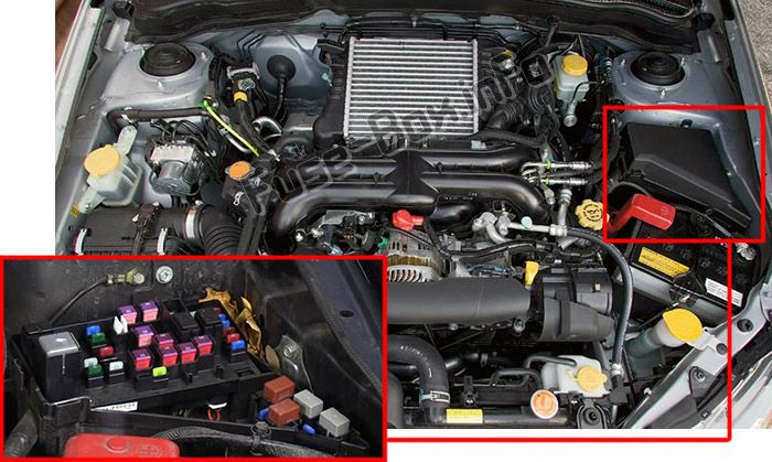 The location of the fuses in the engine compartment: Subaru Impreza (2008-2011)