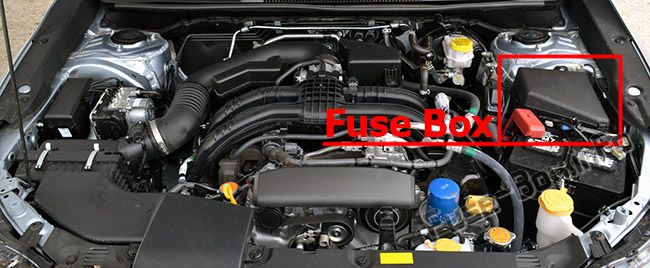 The location of the fuses in the engine compartment: Subaru Impreza (2017, 2018, 2019-...)