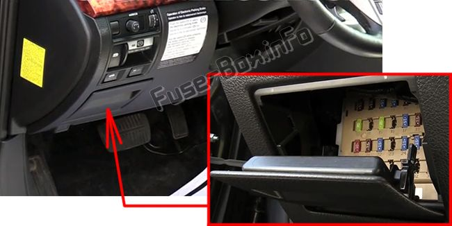 The location of the fuses in the passenger compartment: Subaru Legacy (2010-2014)