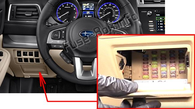 The location of the fuses in the passenger compartment: Subaru Outback (2015-2019)