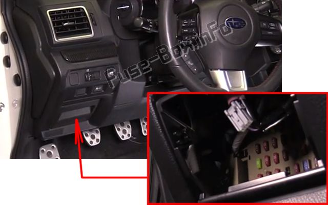 The location of the fuses in the passenger compartment: Subaru WRX (2015-2018-...)