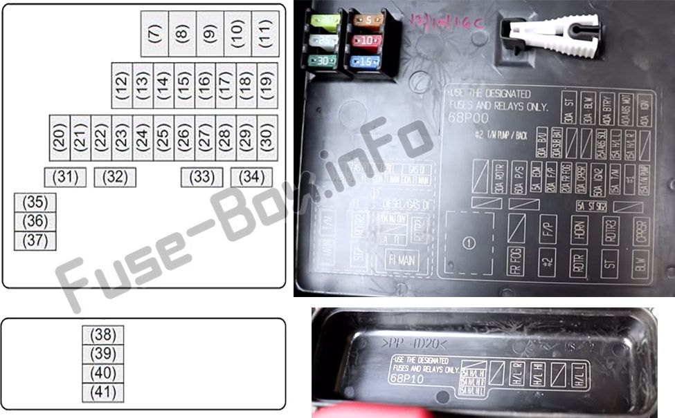 Under-hood fuse box diagram: Suzuki Baleno (2015, 2016, 2017, 2018, 2019)