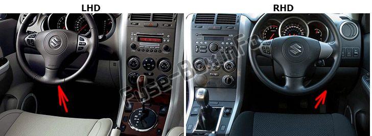 The location of the fuses in the passenger compartment: Suzuki Grand Vitara (2005-2015)