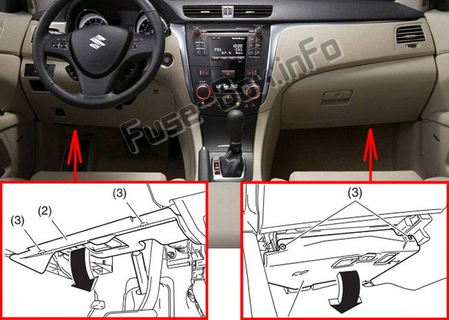 The location of the fuses in the passenger compartment: Suzuki Kizashi (2010-2013)