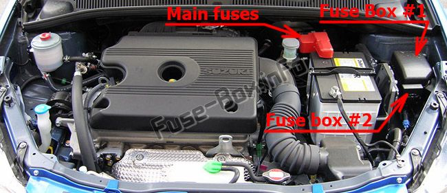 The location of the fuses in the engine compartment (diesel): Suzuki SX4 (2006-2014)
