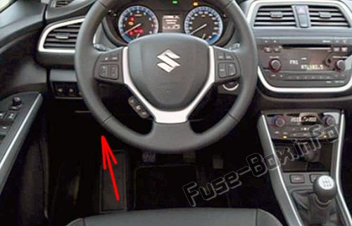 The location of the fuses in the passenger compartment: Suzuki SX4 / S-Cross (2014-2017)
