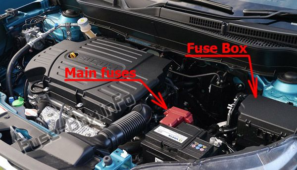 The location of the fuses in the engine compartment: Suzuki Escudo (2016-2019-..)
