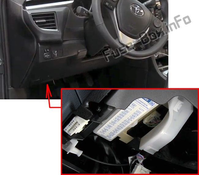 The location of the fuses in the passenger compartment: Toyota Corolla / Auris (2013-2018)