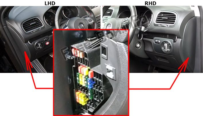 The location of the fuses in the passenger compartment: Volkswagen Golf VI GTI (2009-2013)