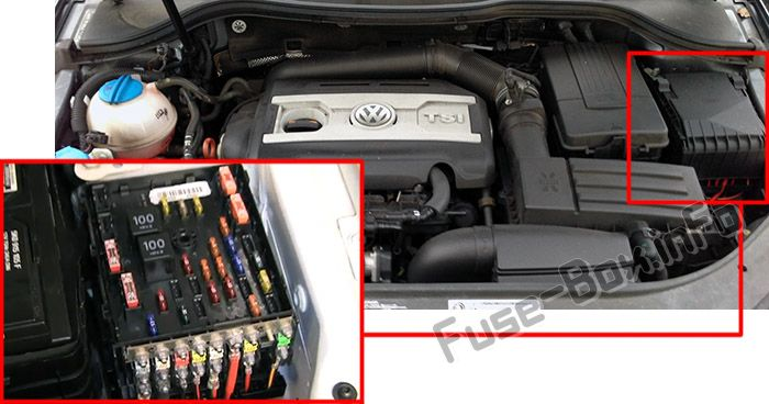 The location of the fuses in the engine compartment: Volkswagen Passat B6 (2005-2010)