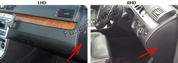 The location of the fuses in the dashboard (right): Volkswagen Passat B6 (2005-2010)