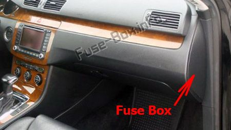 The location of the fuses in the dashboard (right): Volkswagen Passat B7 (2011-2015)