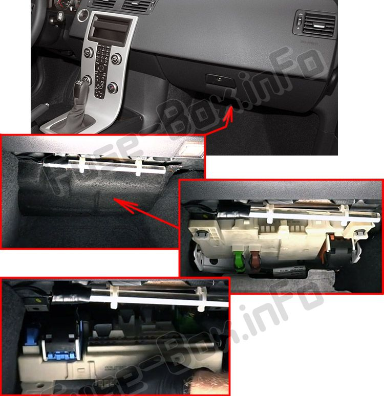 The location of the fuses in the passenger compartment: Volvo C70 (2006-2013)