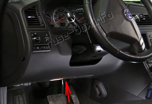The location of the fuses under the dashboard Volvo S60 (2007, 2008, 2009)