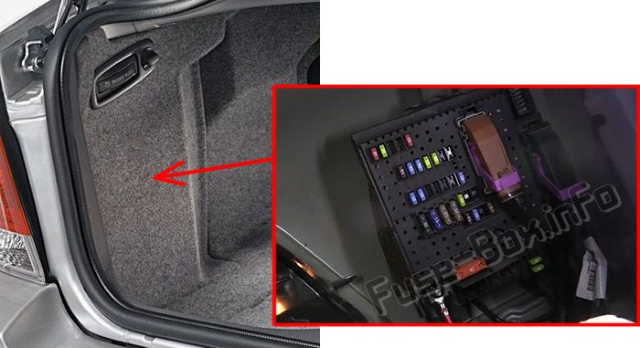 The location of the fuses in the trunk: Volvo S60 (2007, 2008, 2009)