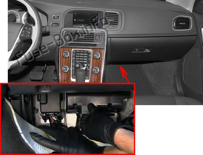 The location of the fuses in the passenger compartment: Volvo S60 (2015-2018)