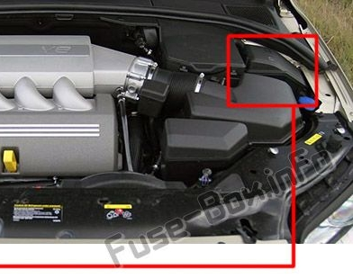 The location of the fuses in the engine compartment: Volvo S80 (2011-2016)