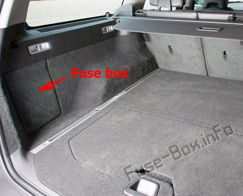 The location of the fuses in the trunk: Volvo V70/XC70 (2011-2016)