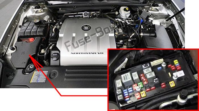 The location of the fuses in the engine compartment: Cadillac DTS