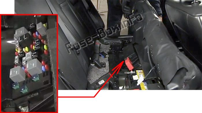 The location of the fuses in the passenger compartment: Cadillac DTS