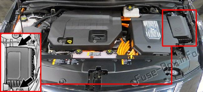 The location of the fuses in the engine compartment: Cadillac ELR