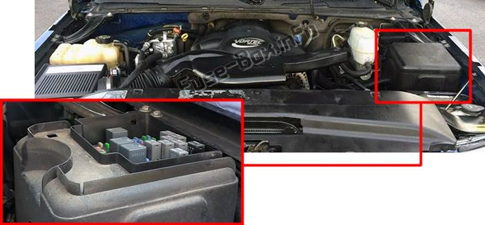 The location of the fuses in the engine compartment: Cadillac Escalade (2001, 2002, 2003, 2004, 2005, 2006)
