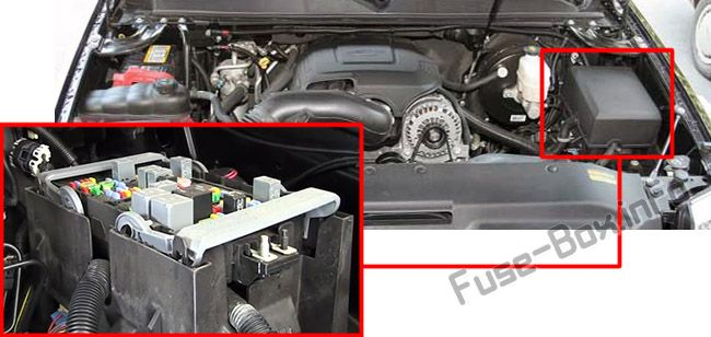The location of the fuses in the engine compartment: Cadillac Escalade (2007, 2008, 2009, 2010, 2011, 2012, 2013, 2014)